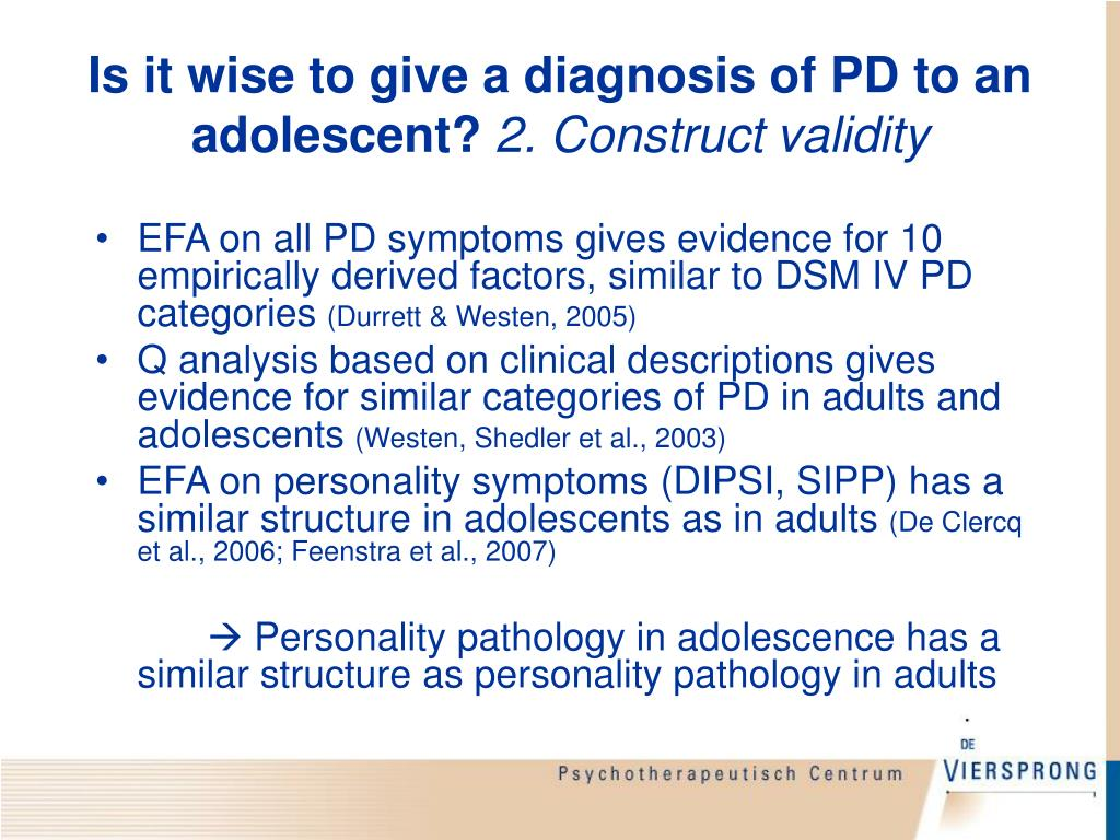 Is it wise to give a diagnosis of PD to an adolescent?