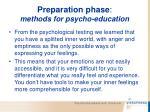 preparation phase methods for psycho education67