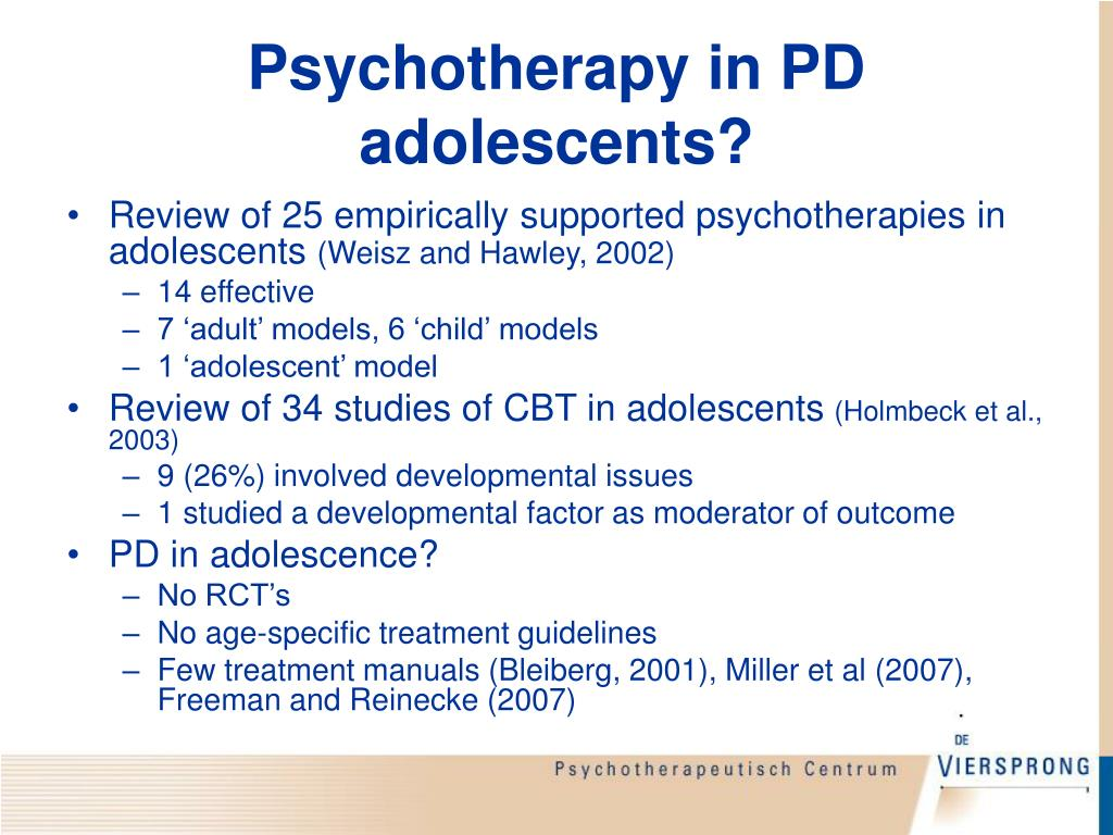 Psychotherapy in PD adolescents?