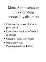 meta approaches to understanding personality disorders
