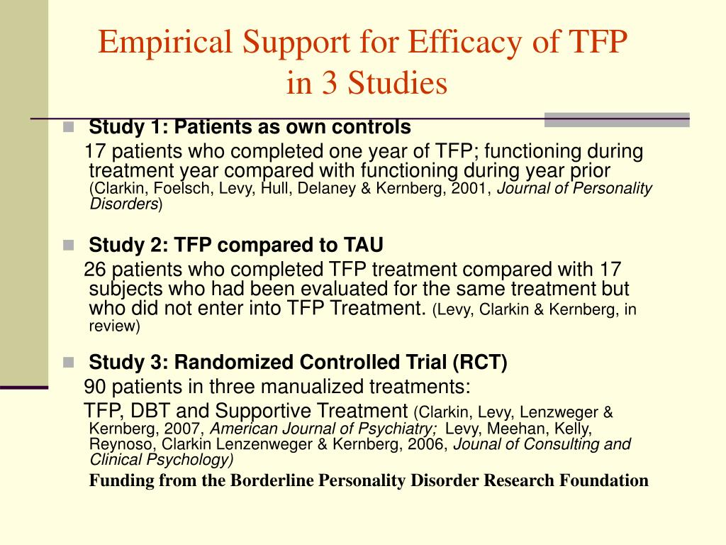 Empirical Support for Efficacy of TFP