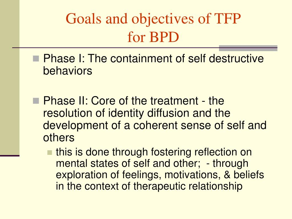 Goals and objectives of TFP