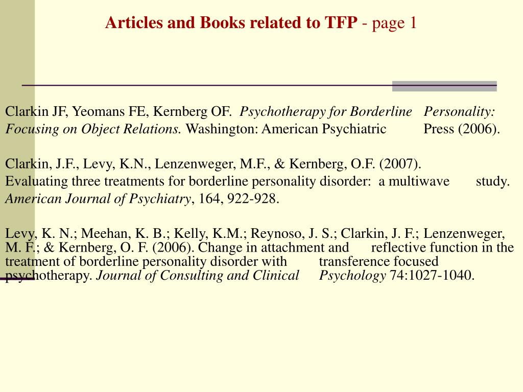 Articles and Books related to TFP