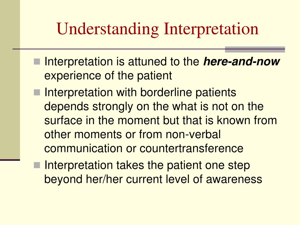 Understanding Interpretation