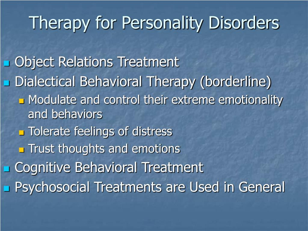 Therapy for Personality Disorders