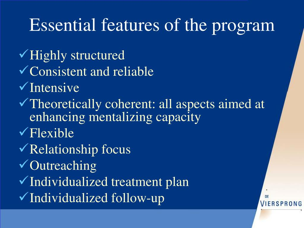 Essential features of the program