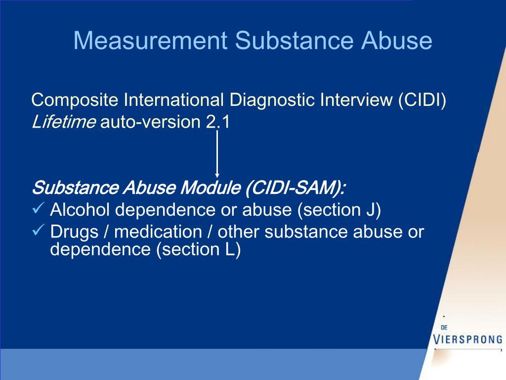 Measurement Substance Abuse