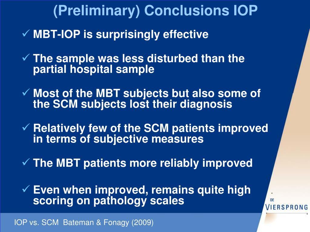 (Preliminary) Conclusions IOP