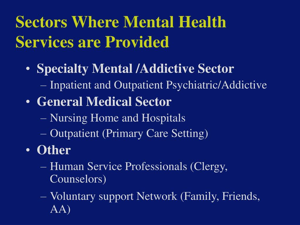 Sectors Where Mental Health Services are Provided