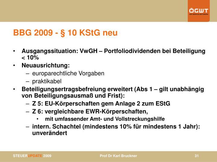 BBG 2009 - § 10 KStG neu