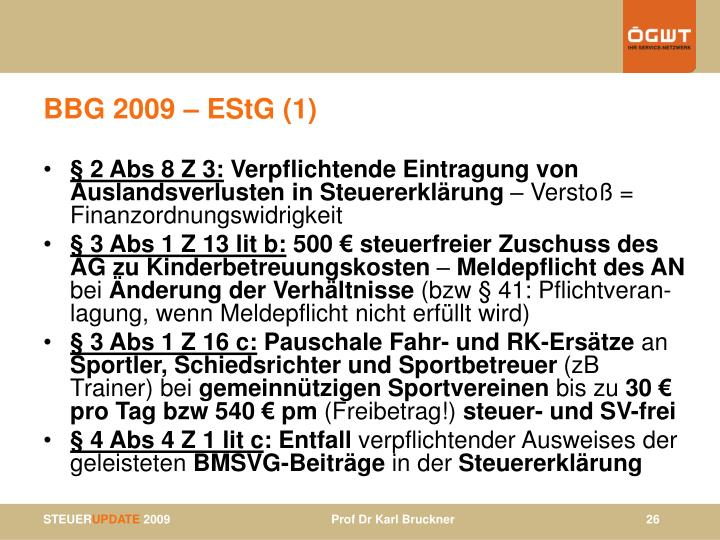 BBG 2009 – EStG (1)