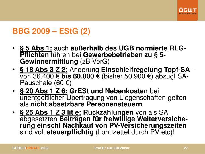 BBG 2009 – EStG (2)