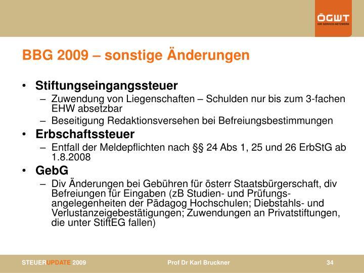 BBG 2009 – sonstige Änderungen