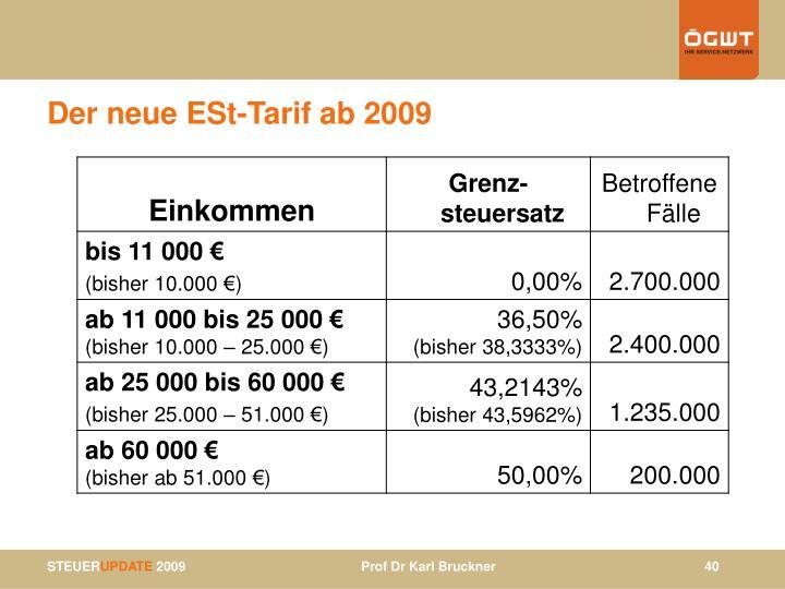Der neue ESt-Tarif ab 2009