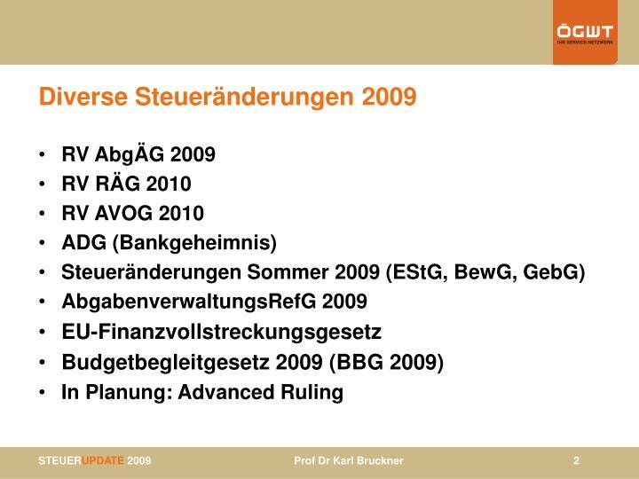 Diverse Steueränderungen 2009