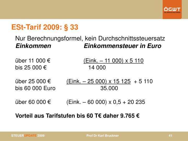 ESt-Tarif 2009: § 33