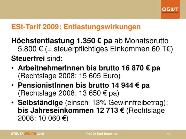 ESt-Tarif 2009: Entlastungswirkungen