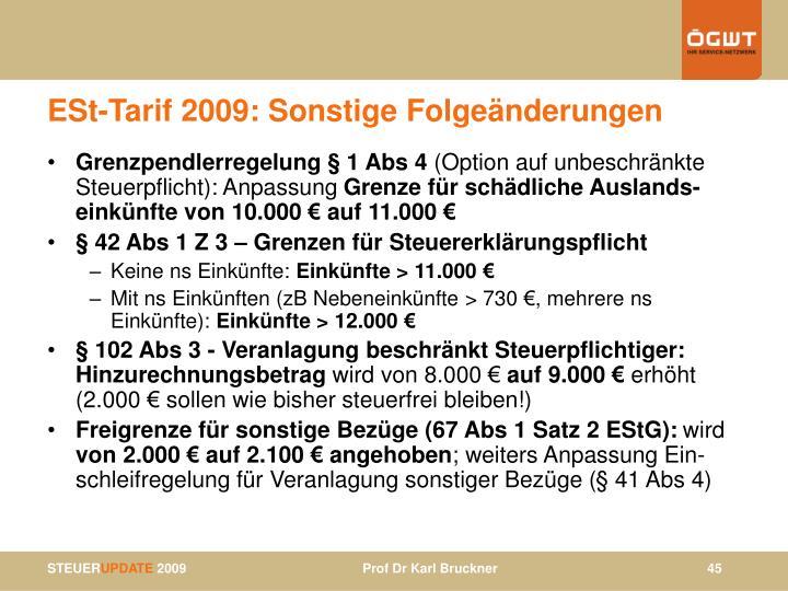 ESt-Tarif 2009: Sonstige Folgeänderungen
