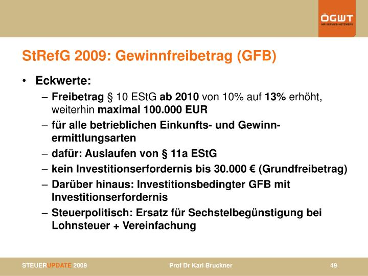 StRefG 2009: Gewinnfreibetrag (GFB)