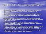 golden rules for coping with panic