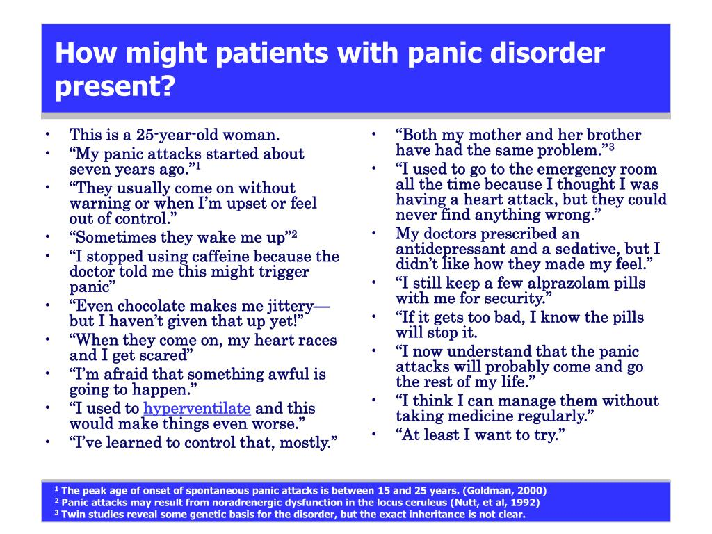 How might patients with panic disorder present?