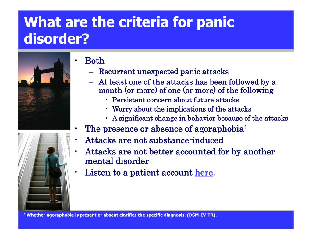 What are the criteria for panic disorder?