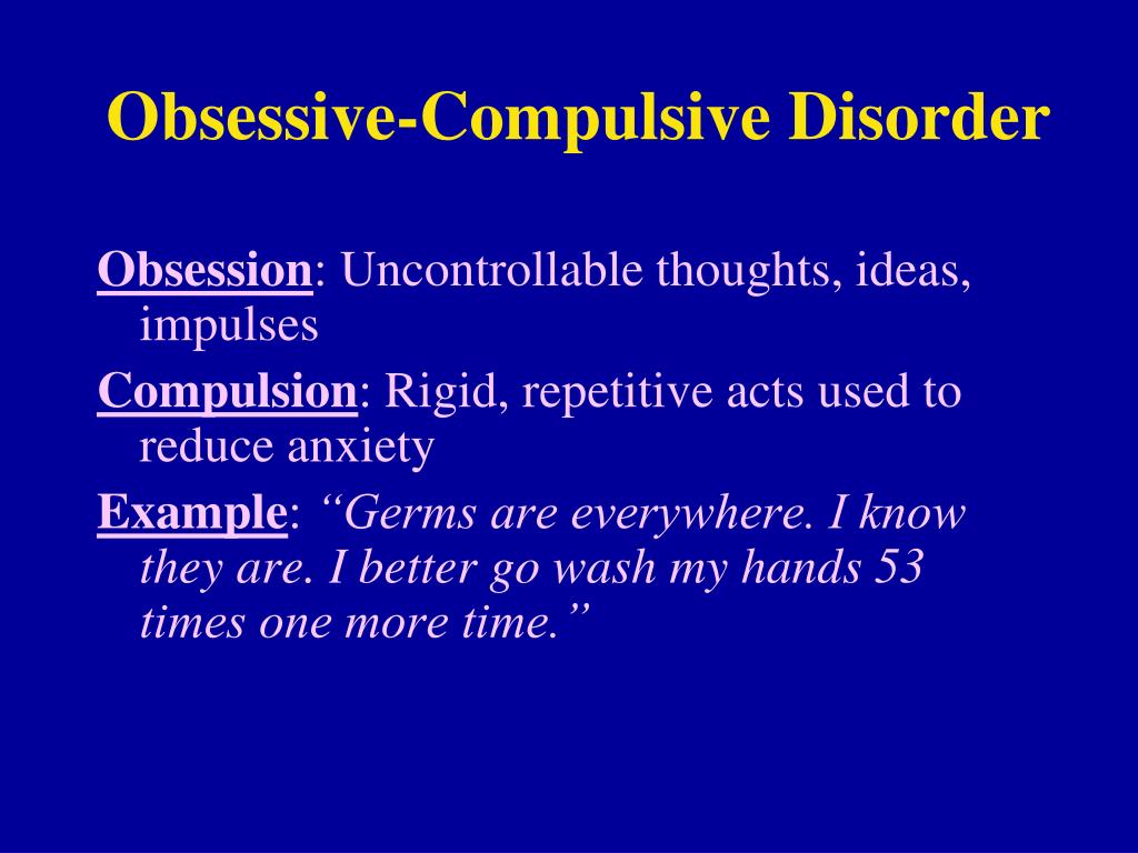 obsessive compulsion disorder People with obsessive-compulsive disorder (ocd) suffer intensely from recurrent unwanted thoughts (obsessions) or rituals (compulsions), which they feel they cannot control rituals, such as handwashing, counting, checking or cleaning, are often performed in hope of preventing obsessive thoughts.