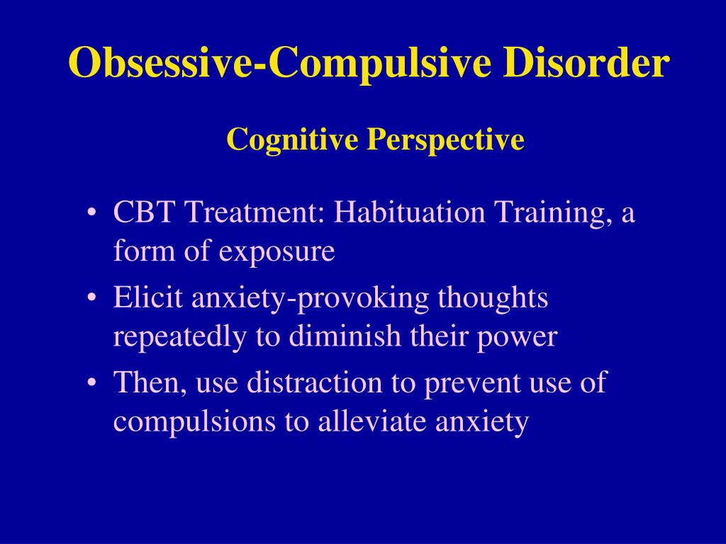 the two parts of obsessive compulsive disorder Obsessive-compulsive disorder (ocd) ocd is a psychiatric illness characterized by persistent and intrusive obsessions and/or repetitive, time-consuming compulsions these compulsions are performed repeatedly in an attempt to reduce the anxiety associated with an obsession or prevent a feared outcome.