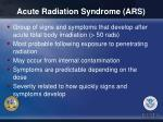 acute radiation syndrome ars