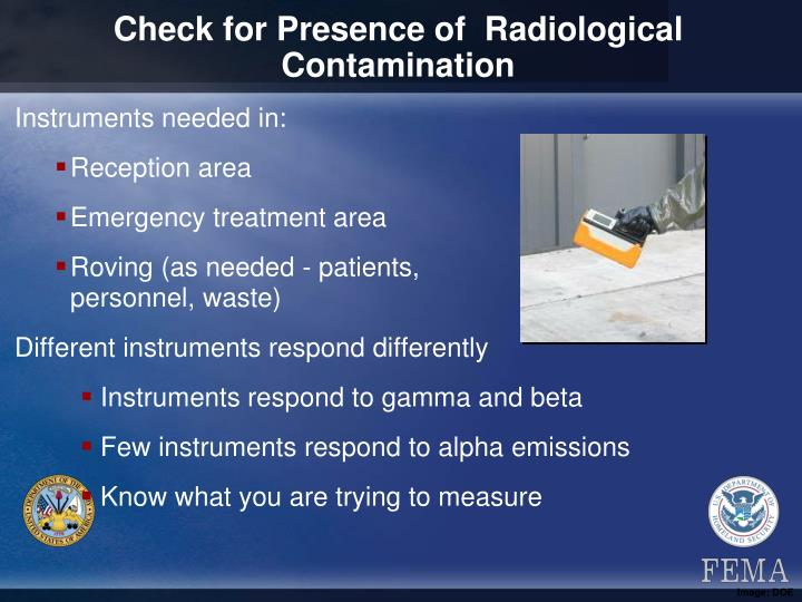 Check for Presence of  Radiological Contamination