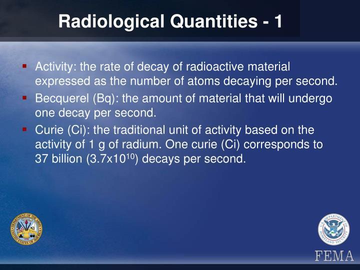 Radiological Quantities - 1
