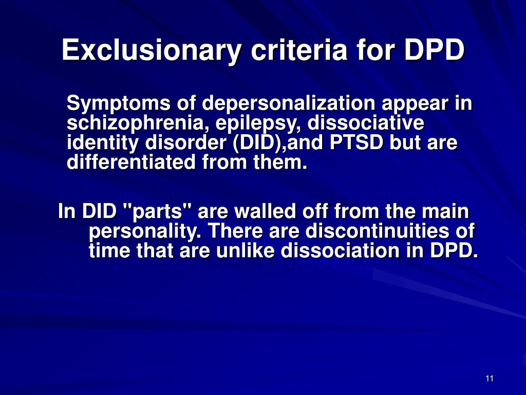 Exclusionary criteria for DPD