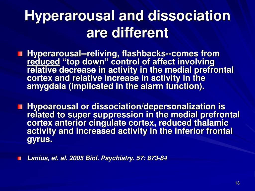 Hyperarousal and dissociation are different