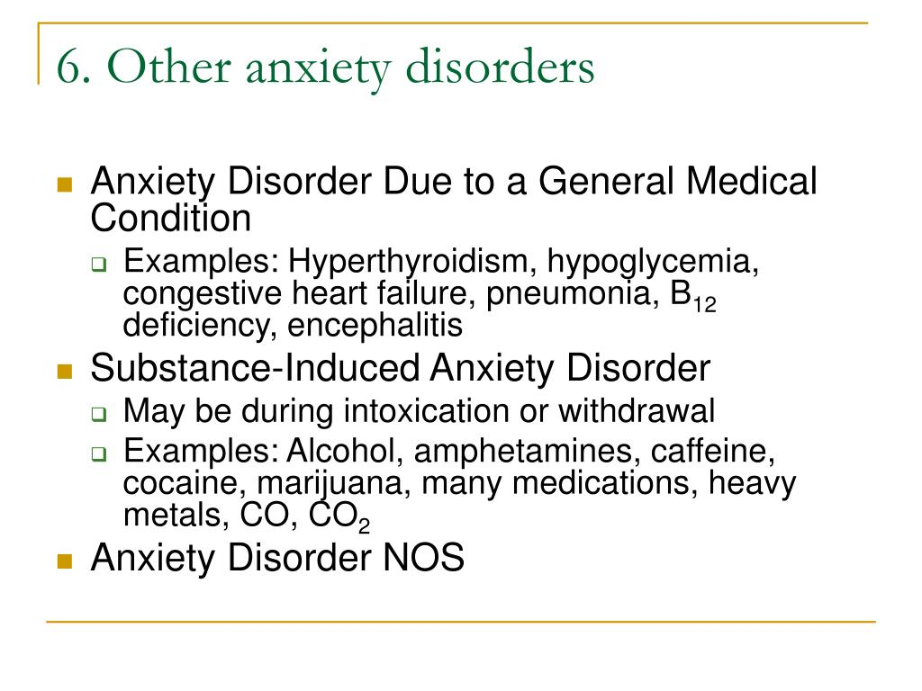 6. Other anxiety disorders