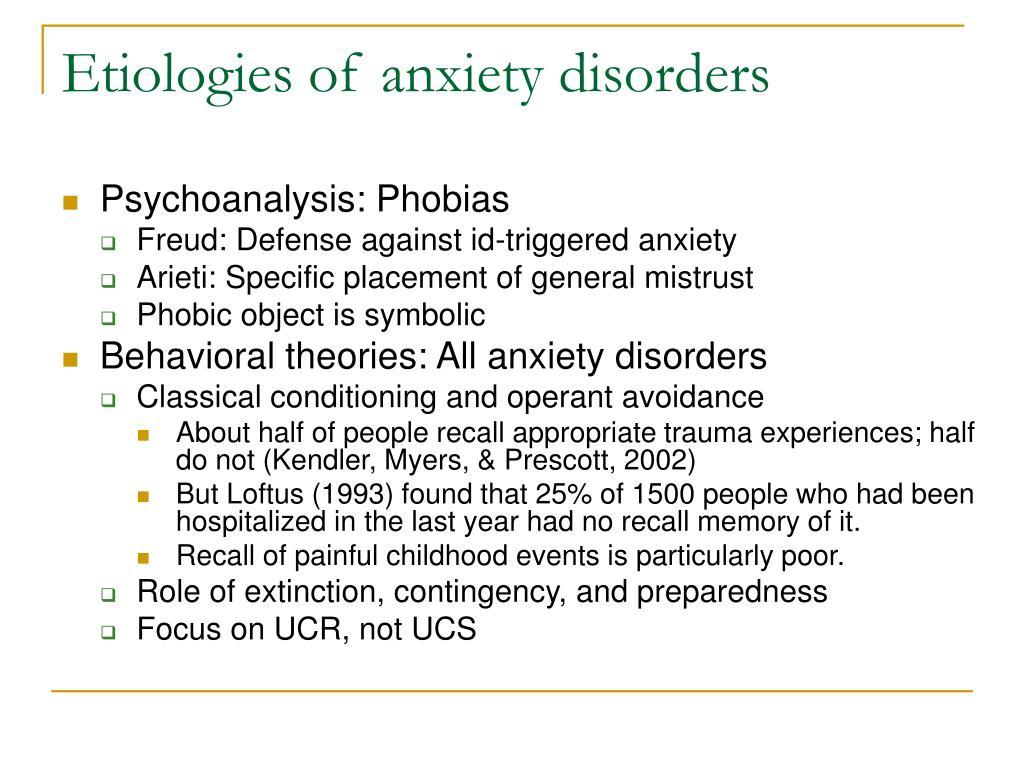 Etiologies of anxiety disorders