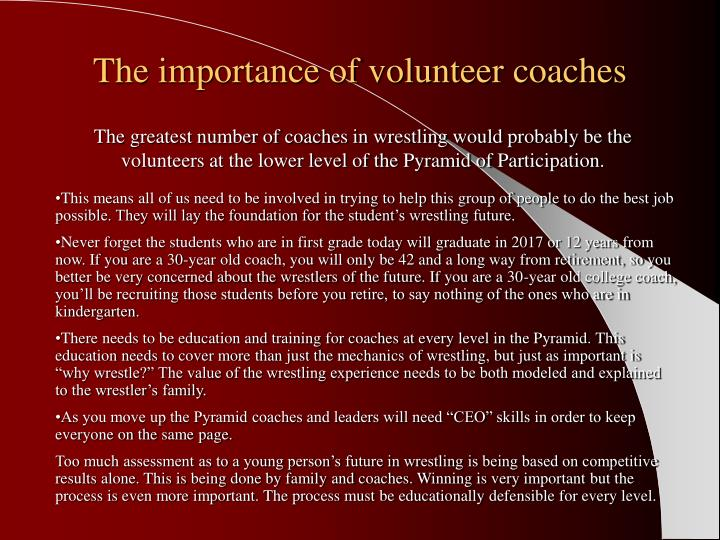 The importance of volunteer coaches
