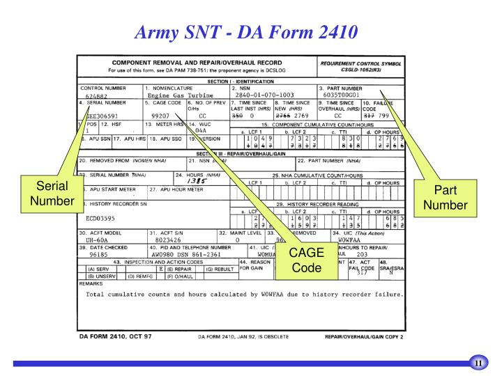 Army SNT - DA Form 2410