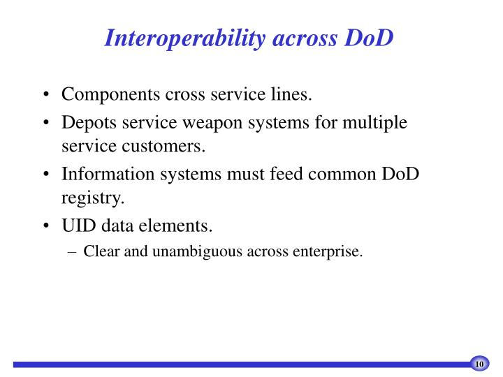 Interoperability across DoD