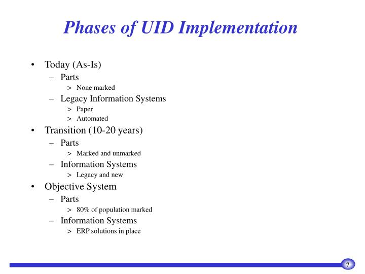Phases of UID Implementation
