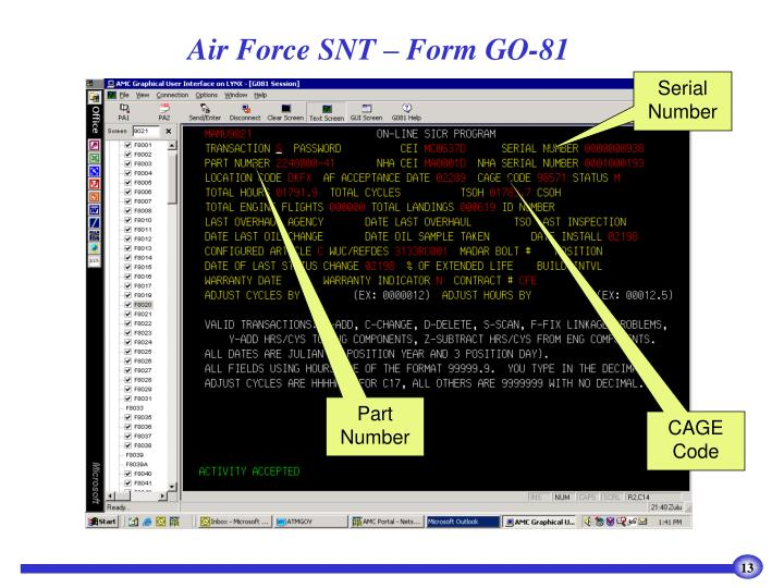 Air Force SNT – Form GO-81