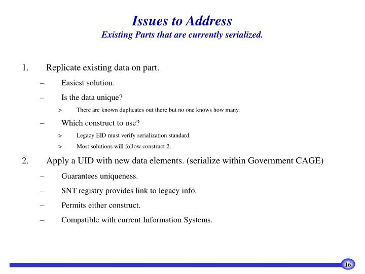 Issues to Address