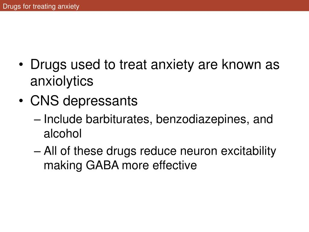 Drugs for treating anxiety