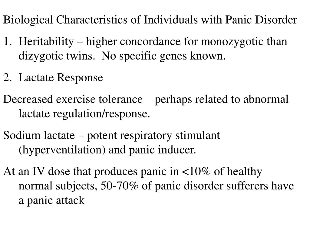 Biological Characteristics of Individuals with Panic Disorder