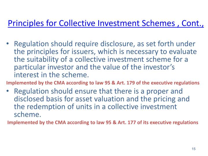 Principles for Collective Investment Schemes , Cont.,