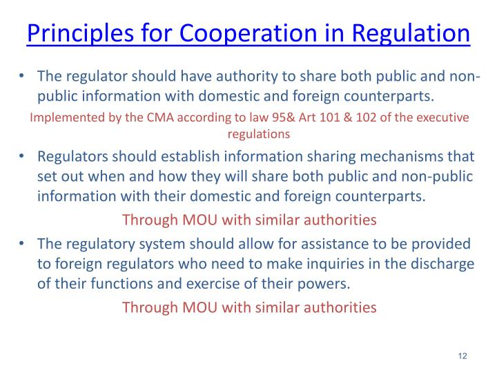 Principles for Cooperation in Regulation