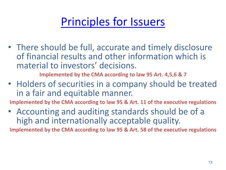 Principles for Issuers