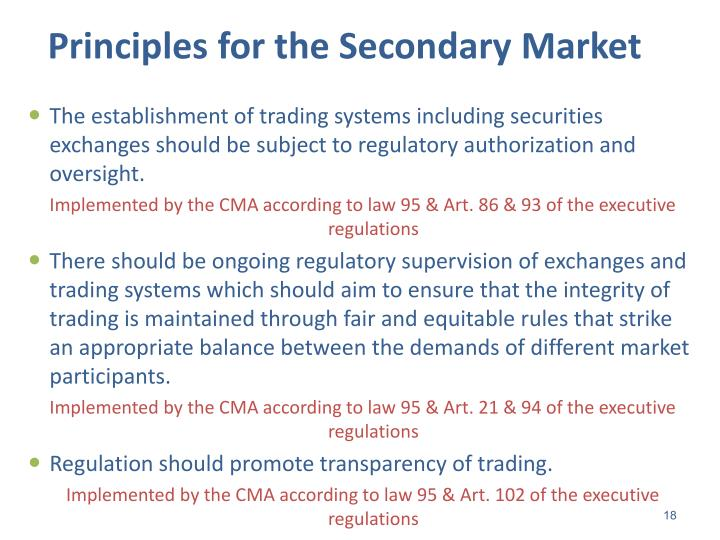 Principles for the Secondary Market