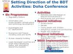 setting direction of the bdt activities doha conference