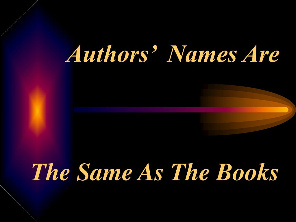 Authors'  Names Are