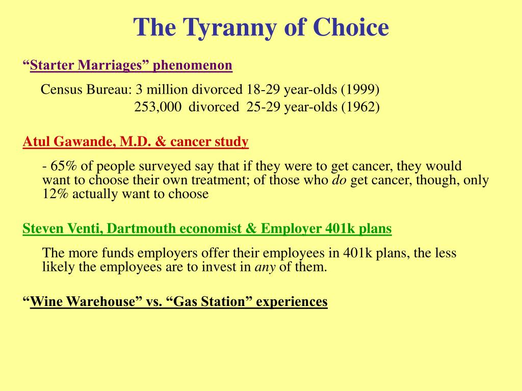 The Tyranny of Choice